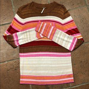 Free People sz Large striped lightweight sweater